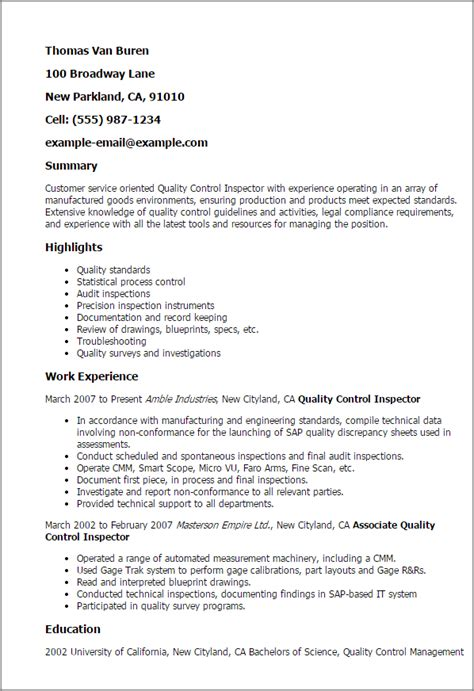 Quality Control Inspector Resume Template   MyPerfectResume