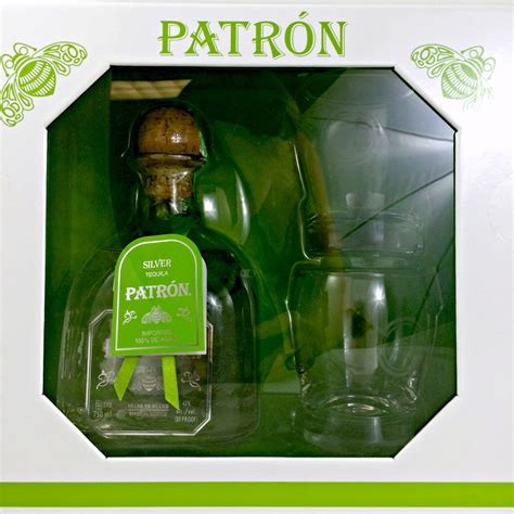 Patron Silver Tequila Gift Set with 2 Glasses; Classic
