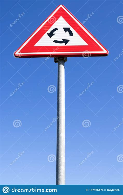 Roundabout ahead stock photo