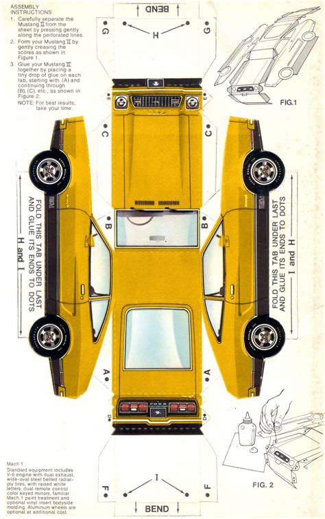 Yellow 1974 Mach 1 Paper Car Ford Mustang II Hatchback