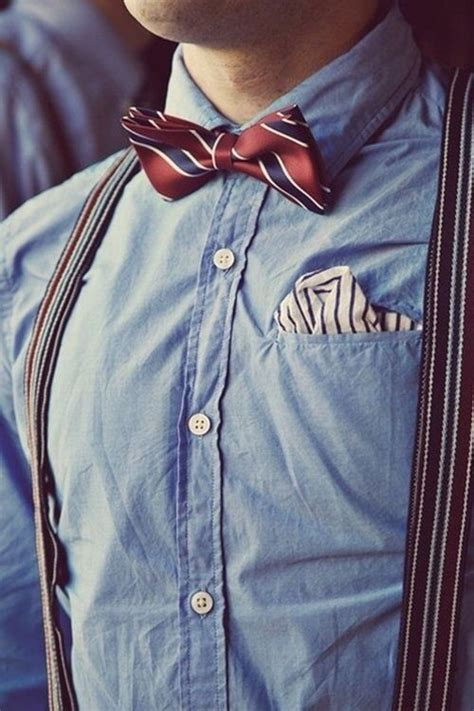 Bow Tie With Suspenders With Light Blue Shirt Pictures