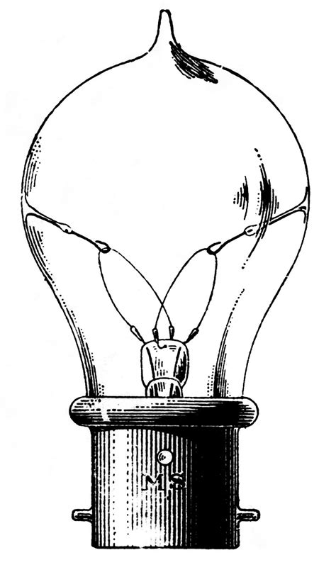 Vintage Clip Art - Old Fashioned Light Bulb - The Graphics