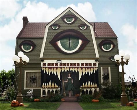 artist transforms her parents' home into a haunted monster