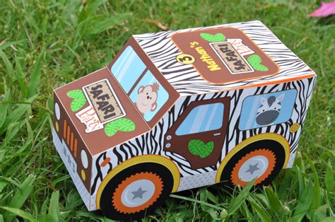Jungle safari animal party jeep truck paper toy car favor or