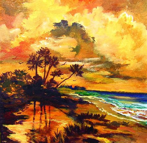 Golden Beach - Acrylic Painting Lessons for Beginners to