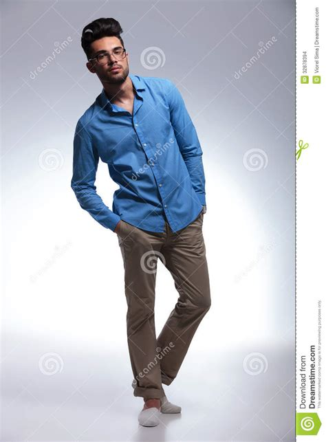 Casual Man Poses With Hands In Pockets Stock Images