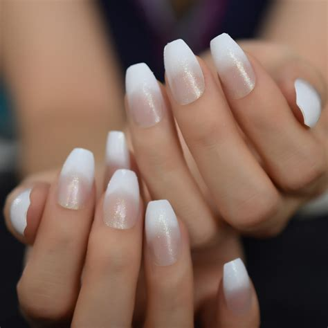 White Transparent Ombre Coffin Nails Holographic Glitter