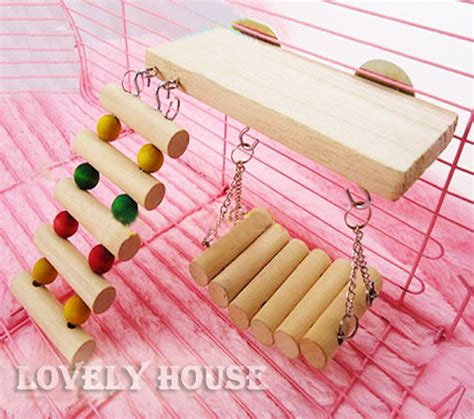 Flexible Wooden Toys Rat Mouse Hamster Parrot Hanging