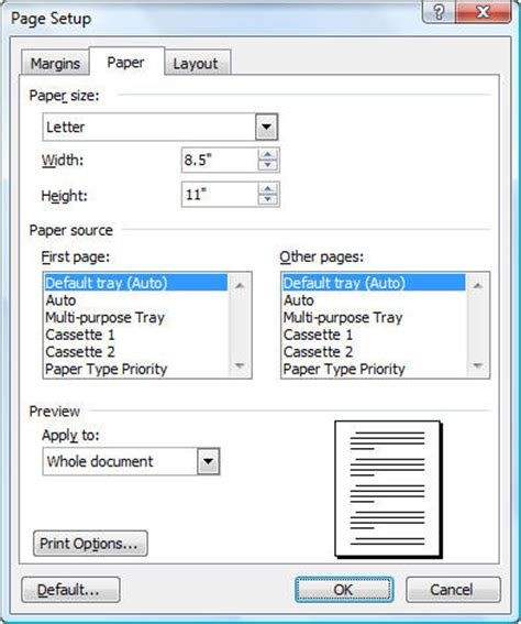 Page Setup Dialog in Microsoft Word