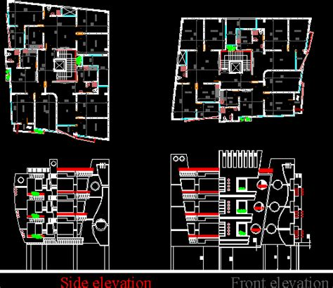 Residential Multi - Storey Building DWG Block for AutoCAD